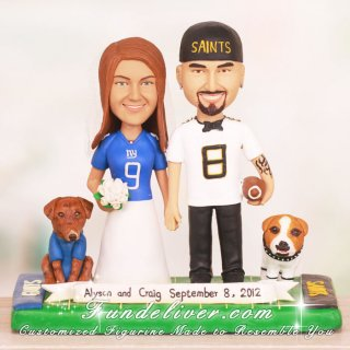 New York Giants and New Orleans Saints Wedding Cake Toppers