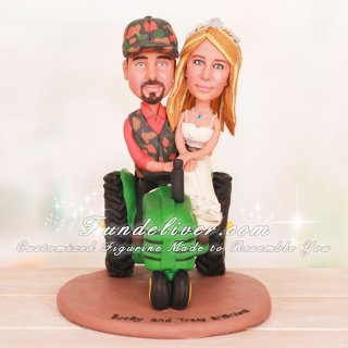 Farm Wedding Cake Topper with John Deere Tractor