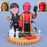 Hellboy and Liz Movie Theme Wedding Cake Toppers