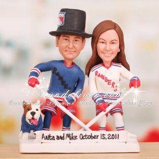 New York Rangers Bride and Groom Cake Toppers