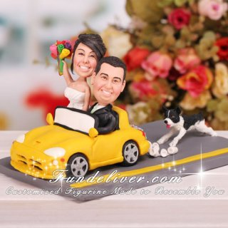 Couple in Car Wedding Cake Toppers
