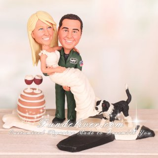 Groom Carrying Bride with Dog Tugging on the Train of Dress Cake Toppers