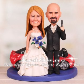 Hobbies Wedding Cake Topper with Photography, Red Corvette and Gun