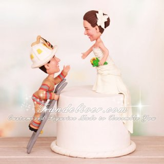 To the Rescue! Fireman Climbing Cake Saving Bride Cake Toppers