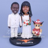 University of Texas UT Theme Longhorns Wedding Cake Topper with Bevo Mascot