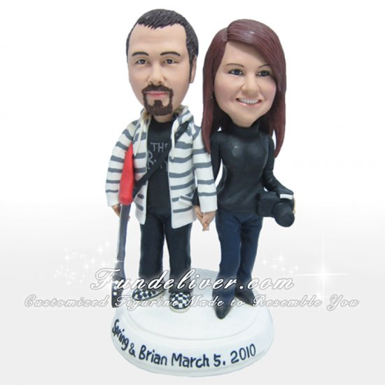 Vintage Guitarist and Camerist Cake Topper, Guitar Player and Photographer Cake Topper - Click Image to Close