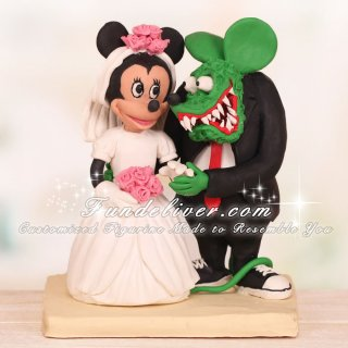 Rat Fink and Minnie Mouse Wedding Cake Toppers