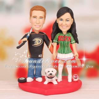 Anaheim Ducks Hockey Wedding Cake Toppers