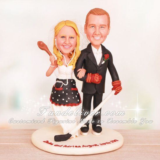 Hockey Player Groom and Housewife Wedding Cake Toppers - Click Image to Close