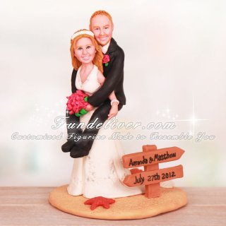 Bride Giving Groom Piggyback Ride Wedding Cake Toppers