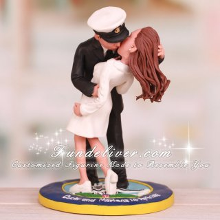 Kissing Navy Chief and Nurse Cake Toppers