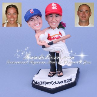 St Louis Cardinals Baseball Theme Wedding Cake Toppers