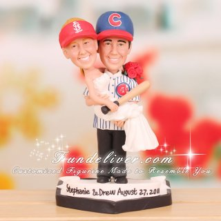 Cardinals And Cubs Wedding Cake Toppers