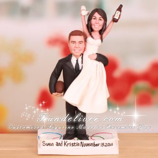 Bride on Groom's Shoulder Cake Toppers