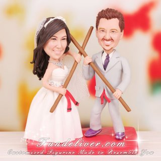 Kung Fu Theme Wedding Cake Toppers
