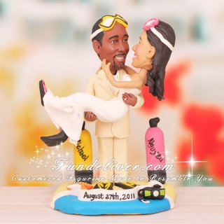 Beach Cake Toppers Couple in Scuba Diver Gears