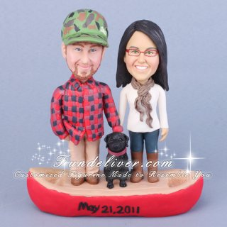 Canoeing Wedding Cake Topper Involving a Red Canoe