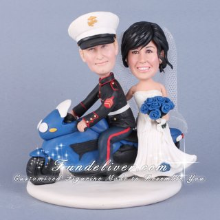 Marine Groom Riding Motorcycle Wedding Cake Toppers