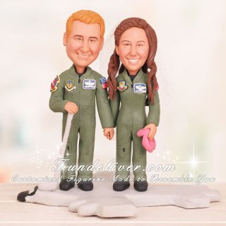 Couple in USAF Flight Suits Standing on Aircraft Cake Toppers
