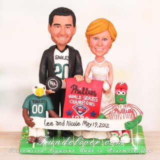 The Mascot Swoop and Phillie Phanatic Sports Wedding Cake Toppers