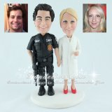 Federal SWAT Officer and Scientist Wedding Cake Toppers