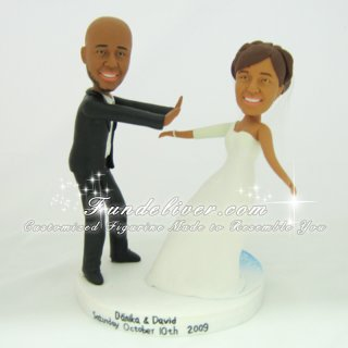 Pushing Bride Off of Cake Wedding Cake Toppers, Push Off Cake Toppers