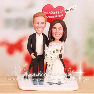 """Skiing to the Altar"" Cross-Country Ski Cake Toppers"