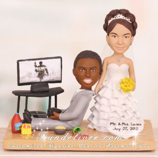 Groom Playing PS3 Gamer Theme Wedding Cake Toppers