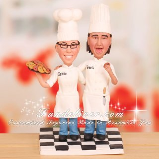 Pastry Chef and Chef Wedding Cake Toppers