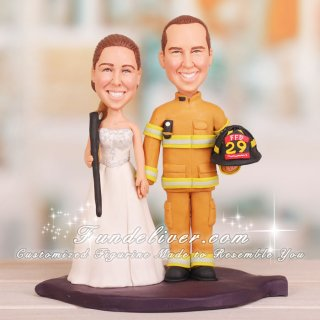 Bride Hold Shotgun and Firefighter Cake Toppers