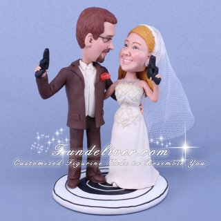 Sport Gun Shooters Wedding Cake Topper with Round Target Base