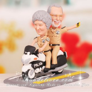 Highway Police Motorcycle Patrol Cake Toppers