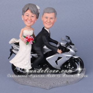 Motorcycle Cake Toppers for Weddings with Bride and Groom