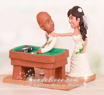 Billiard Player Wedding Cake Topper with Pool Table