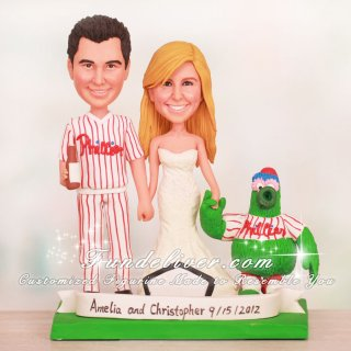 Bride Holding the Phantatic's Hand Phillies Cake Toppers