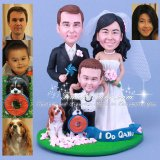 Family Wedding Cake Topper with Parents Bride Groom and Child