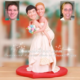Two Brides Lesbian Wedding Cake Toppers