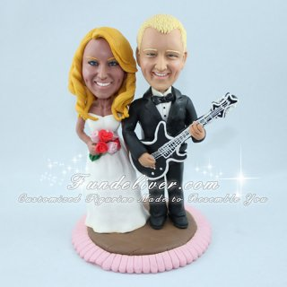 Groom Playing Guitar Cake Topper, Mini Guitar Cake Toppers