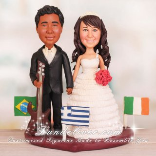 Multinational Bass Guitar Player Cake Toppers