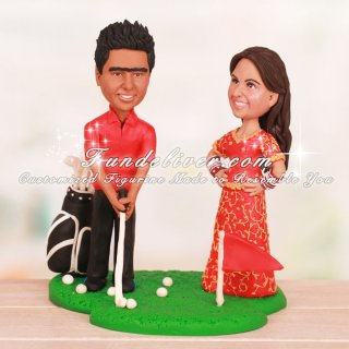 Groom Playing Golf Shot with Indian Bride Cake Toppers