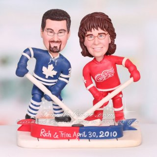 Detroit Red Wings Hockey Wedding Cake Toppers