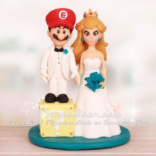 Super Mario Character Wedding Cake Toppers