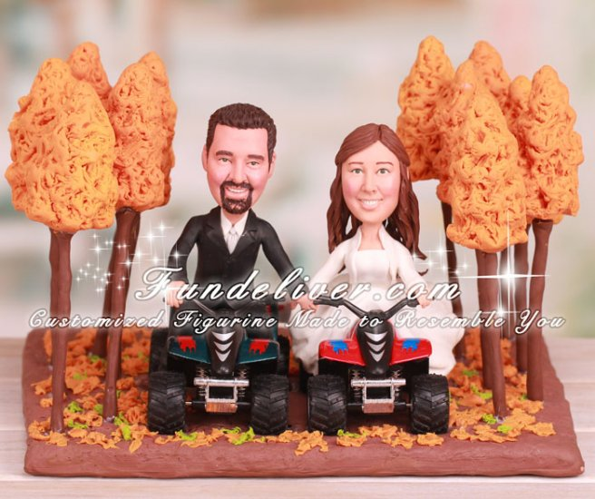 Four Wheelers Dirt Trail Riding in Woods Cake Toppers - Click Image to Close