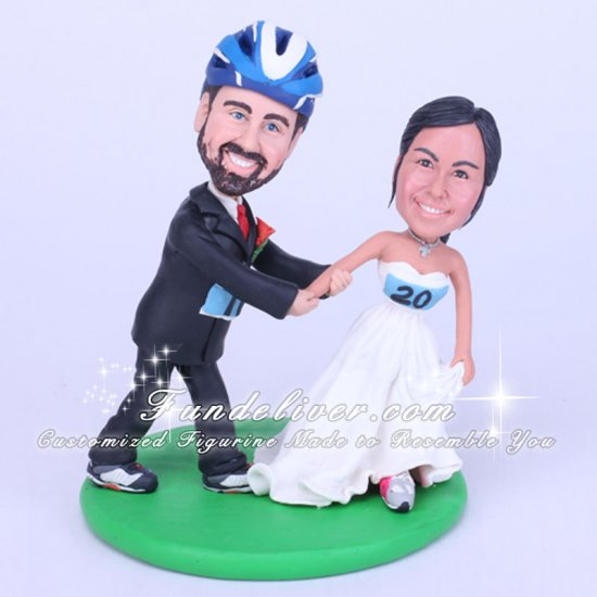 Cyclist Cake Toppers , Runner Wedding Cake Toppers - Click Image to Close