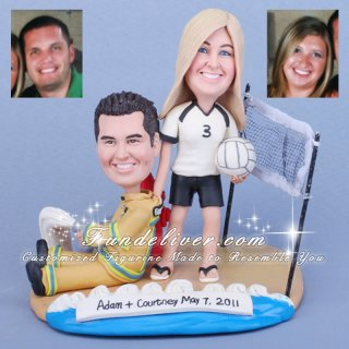 Volleyball-aholic & Firefighter, Volleyball Theme Sport Cake Toppers