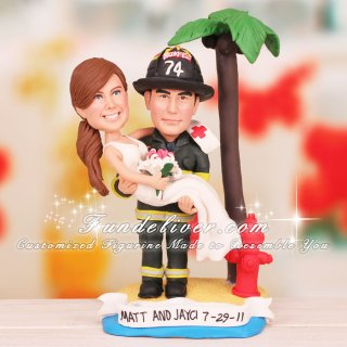Nurse and Firefighter Wedding Cake Toppers