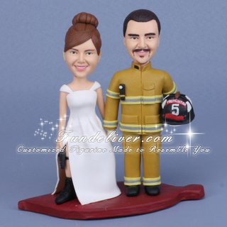 Firefighter Cake Toppers, Fireman Occupation Theme Wedding Cake Toppers & Decoration