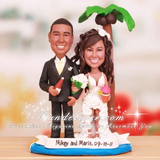 Palm Tree Sand and Starfish Cake Toppers