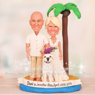 Beach Theme Bride Groom and Dog Wedding Cake Toppers