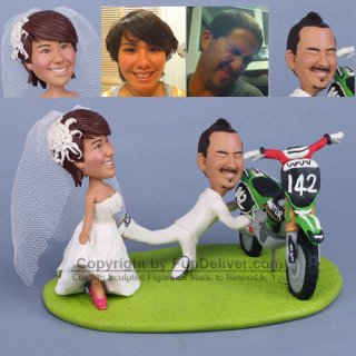 Dirt Bike Wedding Cake Topper with Bride Dragging Groom Away From Dirtbike